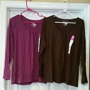 Just My Size Tops - ☆2 Women's 1X NWT Just My Size Tops Brown & Purple