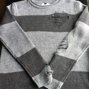 Topshop Other - ❤️NWT Topman grey striped distressed sweater
