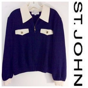 ST. JOHN Blue zip cardigan SWEATER knit Large  L