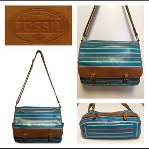 Fossil Handbags - FOSSIL Coated Canvas & Leather Messenger Computer
