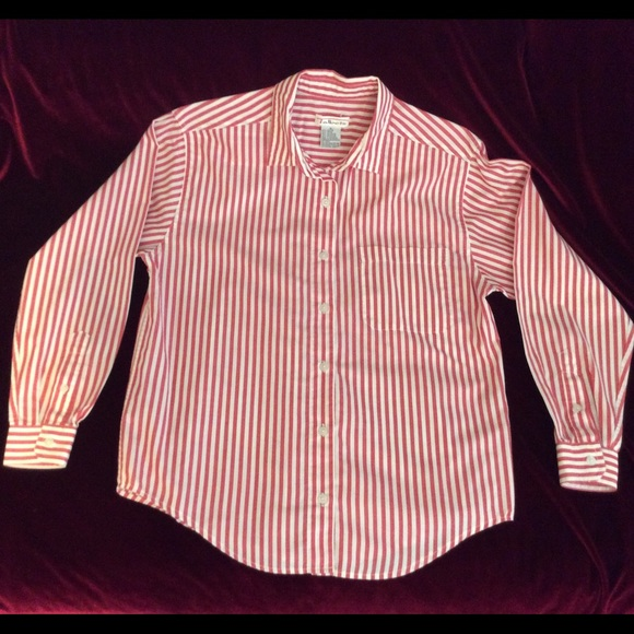 88% off Talbots Tops - Classic Red & White Striped button down ...