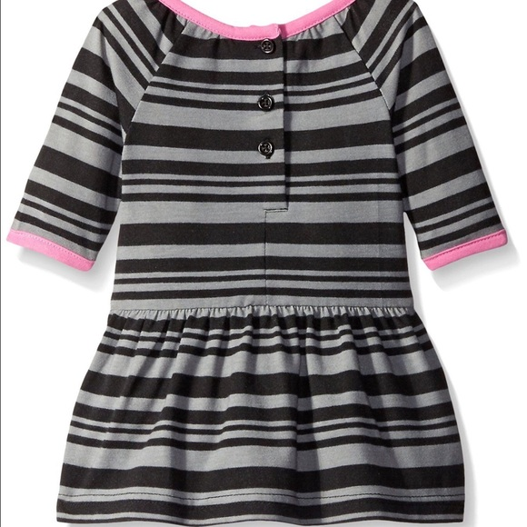 Marmellata Baby Girls Pink and BlueStriped Striped Knit Dress