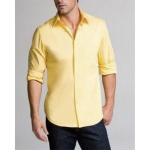 Express Other - NWT Men's Pastel Yellow Collared Dress Shirt