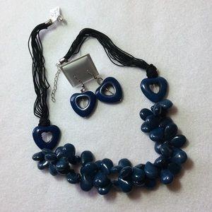 Lapis Howlite Heart/Teardrop Necklace/Earring Set