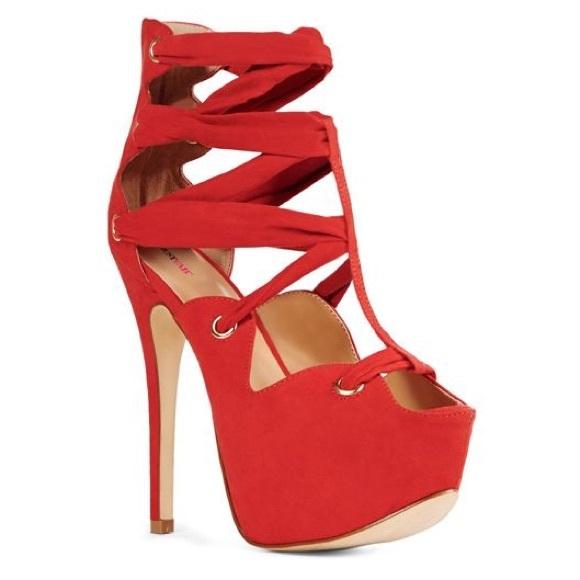 "68% off JustFab Shoes - JustFab ""Ettie"" Red Strappy Platform Heels ..."