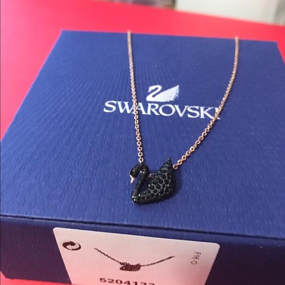 a5dc70a70c79 Swarovski black swan rose gold necklace