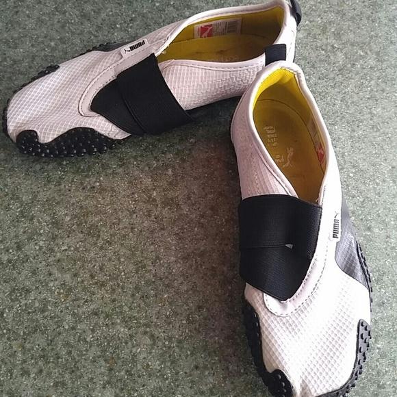 Puma White And Black No Laces Shoes
