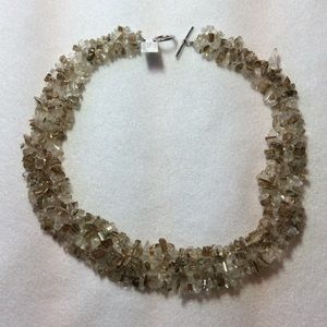 Jewelry - Quartz Nugget Woven Statement Necklace -Approx 17""