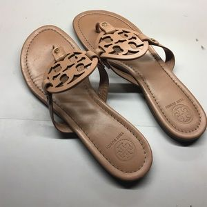 "BARELY WORN tory burch miller sandals in ""makeup"""