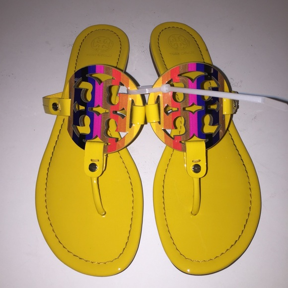 ac90010a9 Tory Burch Rainbow Yellow Miller Sandals 10. M 588fc3ab3c6f9f6c4301b363