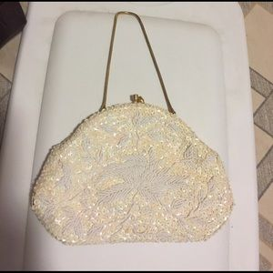 White beaded be sequin evening bag