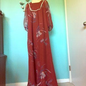Vintage Rust sheer Polyester Floral Maxi dress