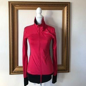Nike Jackets & Blazers - Like new Nike zip up Pink and black long torso, xs