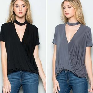 •draped front top with choker•