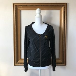 Adidas Jackets & Blazers - Adidas black and gold open neck jacket, xs