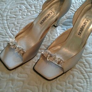 Caparros Shoes - New Silver Satin Sandals with Jewels