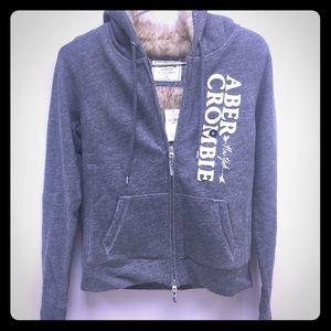 Abercrombie Grey Fur Hoodie Medium