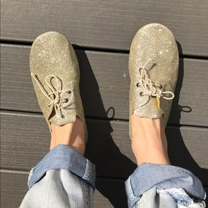 Anniel Shoes - Anniel italian champagne glitter laceup flats 8