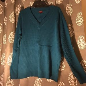Merona Fit To Flatter Ribbed Teal Sweater