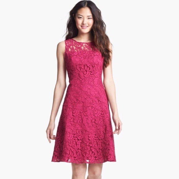 Adrianna Papell Pink Lace Fit Flare Dress