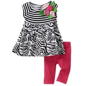 Flapdoodles Other - Flapdoodles Zebra Print Dress with Pink Leggings