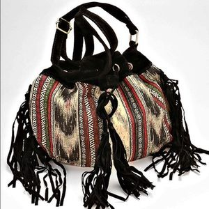 Handbags - NWT Boho Aztec Suede Fringe Crossbody Bucket Bag