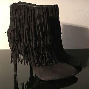 Zara Fringe high heel boots black suede size 39