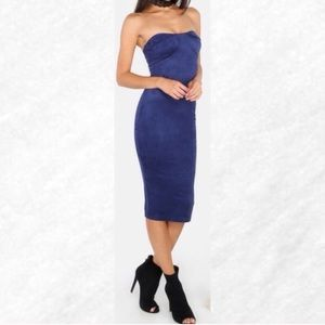 Dresses & Skirts - Last chance! Blue Suede Strapless Midi Dress