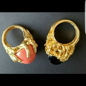 Lot of 2 Panetta style vintage cocktail rings