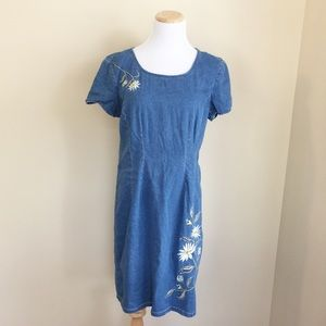 Robbie Bee Dresses & Skirts - ✨Vintage✨ Robbie Bee embroidered denim dress sz 12