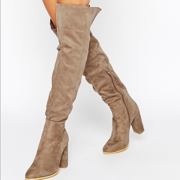 Daisy street taupe heeled boot ver the knee boot NWT