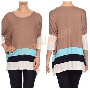 Dolman Sleeved Colorblock Tunic