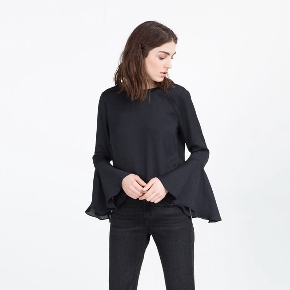 Zara Tops - NEW Zara black chiffon open back top