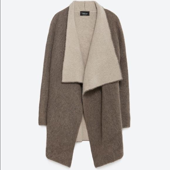 ee0f1f9e Zara Jackets & Coats | Pointed Lapel Knit Jacket Sweater | Poshmark