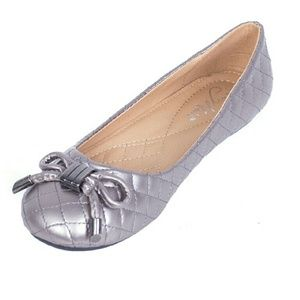 Tory K Shoes - Women Ballerina Flats with Bow, b-1608, Grey