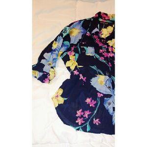 Carole Little Tops - Vintage Semi Sheer Floral Shirt