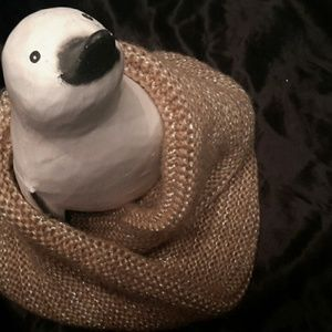 Echo Accessories - Infinity scarf knitted  beige with golden tone