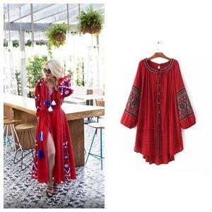 Dresses & Skirts - Blogger Fav RED Embroidered Peasant Tassel Dress
