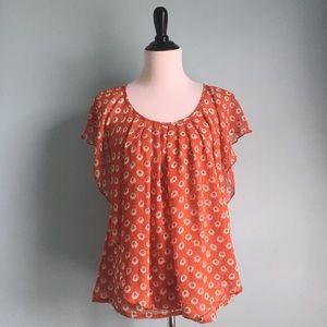 a'reve Tops - Orange Floral Flowy Blouse