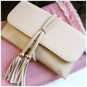 Jaded Affairs Handbags - 🆕 Rope Tied Fringe Clutch/Purse (Nude)