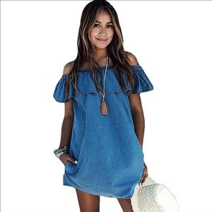 Dresses & Skirts - 💝Sale💖Loose Slash neck Jeans Summer Dresses