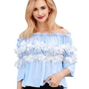 Tops - Floral Plain Blue Off the Shoulder Top