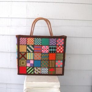 Vintage 1970s Embroidered Box Purse Bag