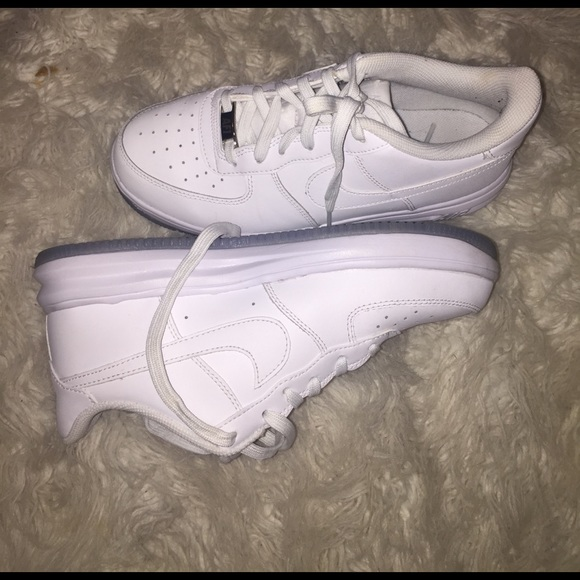 White nike Air Force ones with icy bottoms-6y