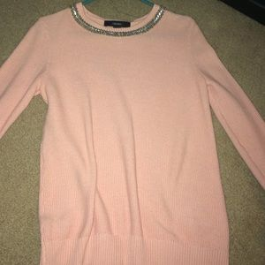 Pink waffle knit pullover sweater