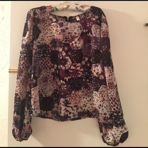 Xhilaration Tops - Semi Sheer Patchwork Inspired Flowered Top
