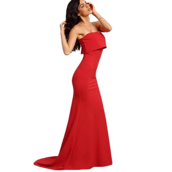 Dresses - Elegant strapless maxi dress