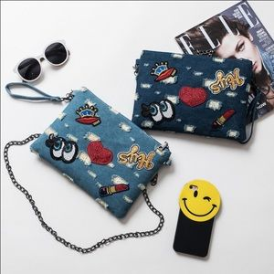 Handbags - canvas casual denim envelope clutch bag