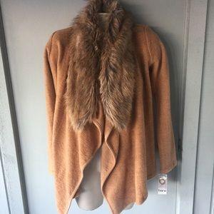 Bar III Sweaters - BAR III FUR INDIAN TAN SWEATER COAT CARDIGAN