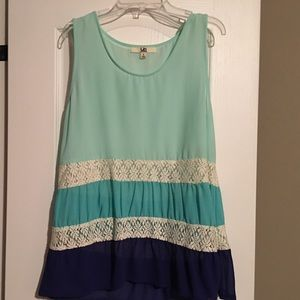 Tops - Ombré colored blouse with lace